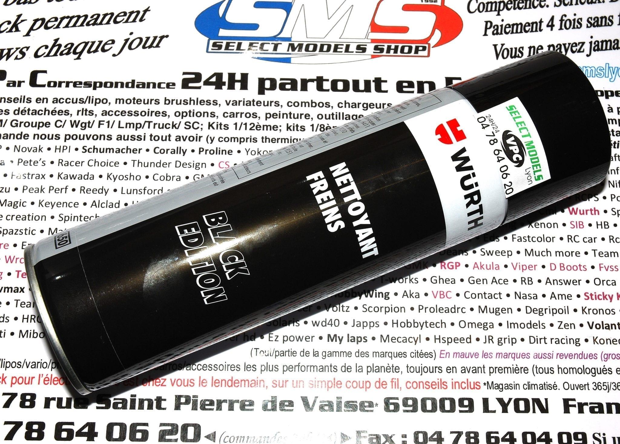 Promo sur bombe Wurth nettoyant frein look noir