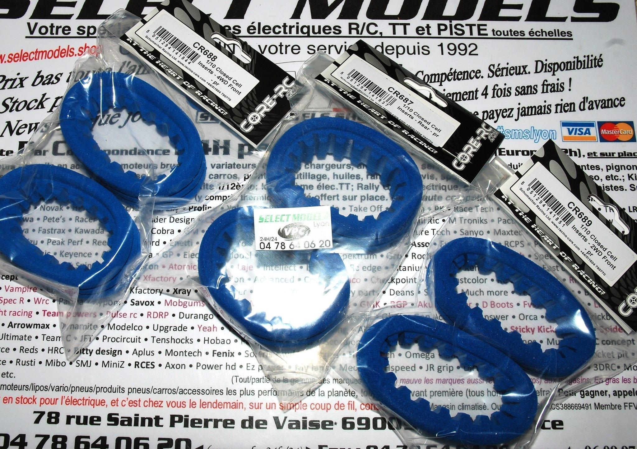 Inserts core-rc pour pneus TT 1/10